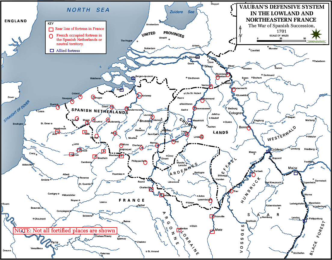 Map of the War of the Spanish Succession: Vauban 1701