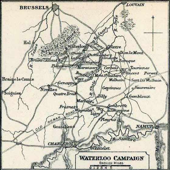 Map of the Waterloo Campaign 1815