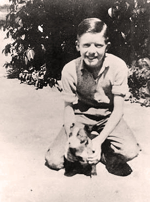 Wee Jimmy Carter and Dog Bozo, 1937