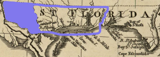 Map of West Florida: Within Blue Border the Territory Referred to in This Proclamation