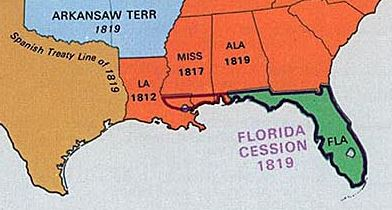 West Florida Historic Places And Locations - 1819 map of us