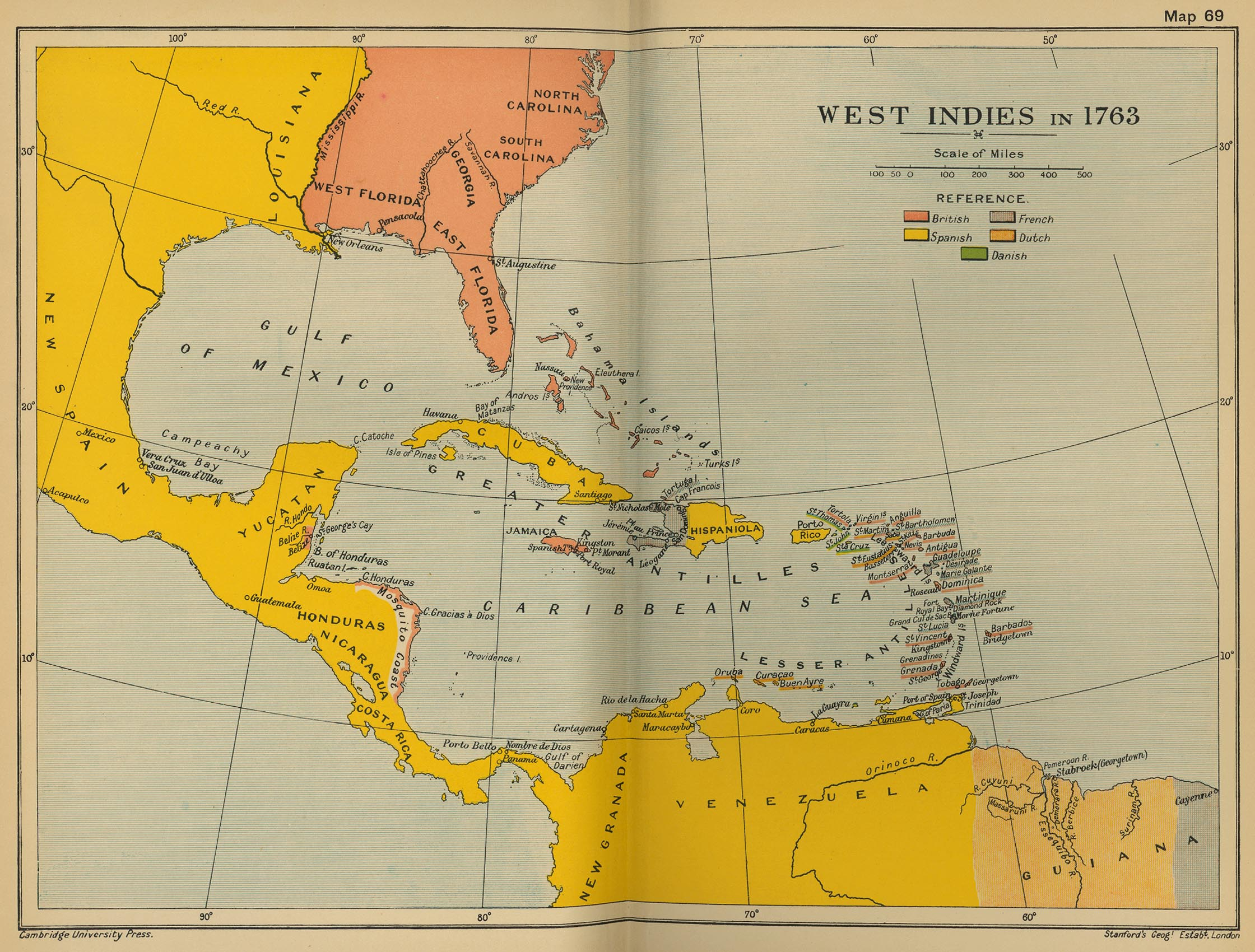 Map Of The West Indies In 1763