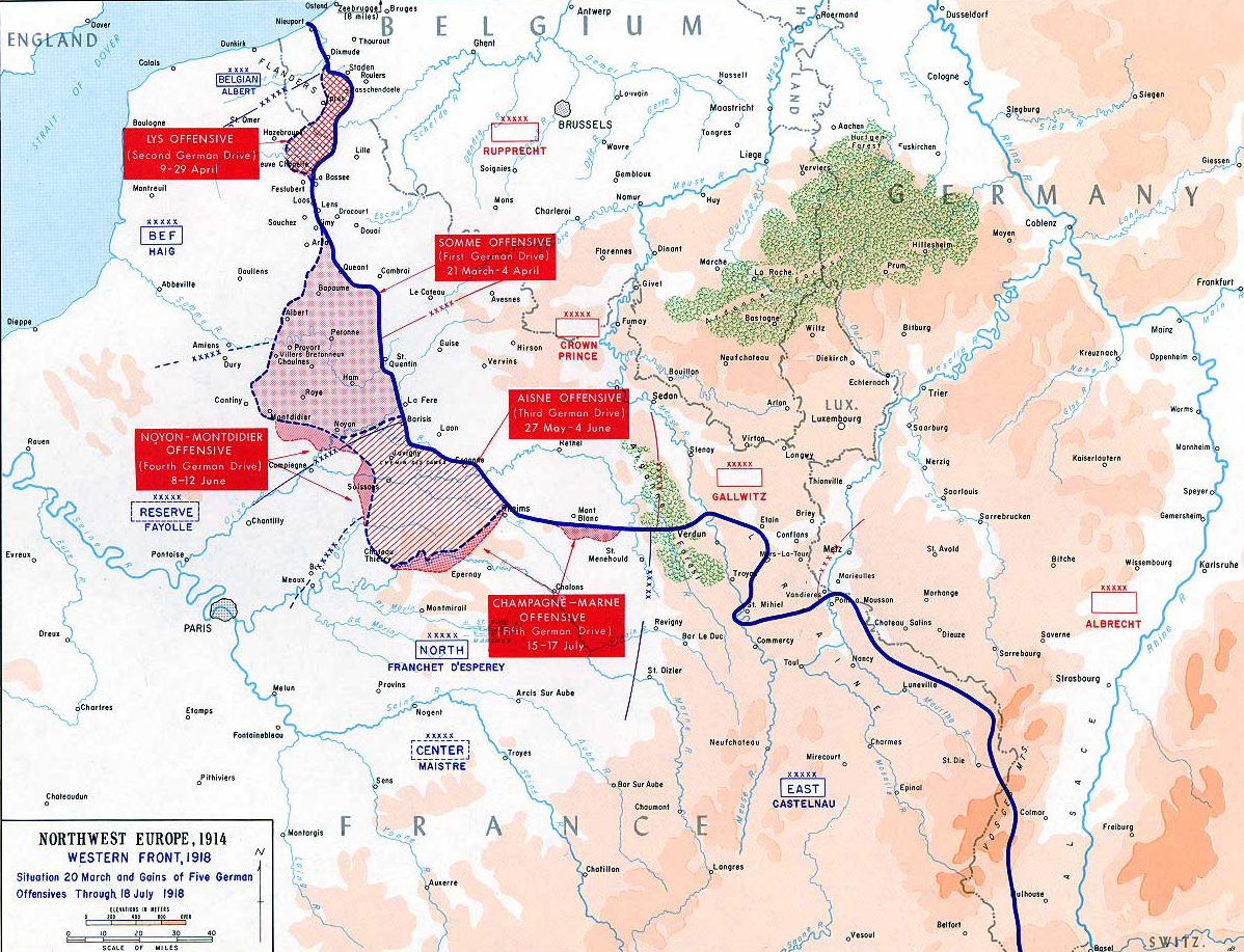 Map of WWI: Western Front 1918