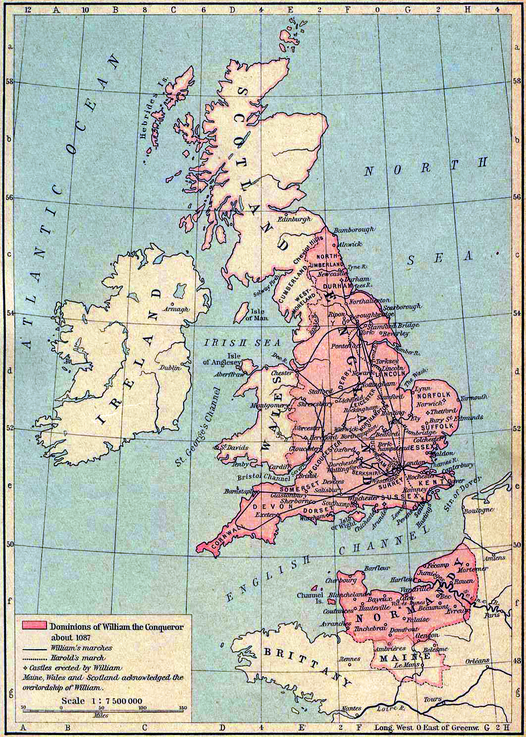 Map of the Dominions of William the Conqueror about 1087