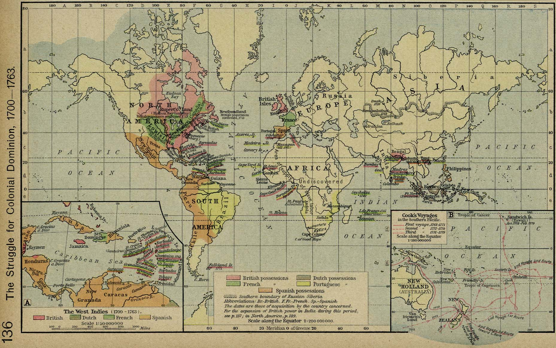 World Map 1700-1763: Colonies