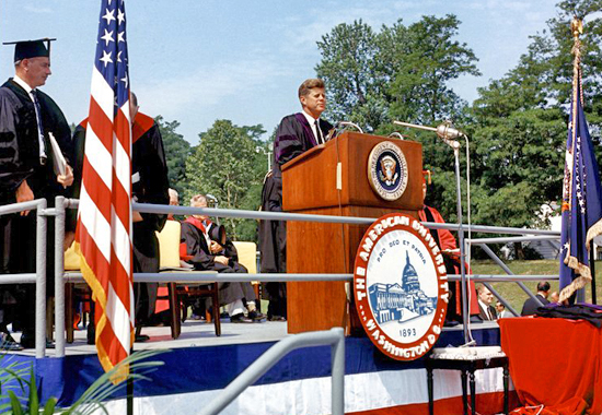 JFK'S COMMENCEMENT ADDRESS AT AMERICAN UNIVERSITY 1963