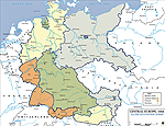 Map of Central Europe 1945: Allied Occupation Zones