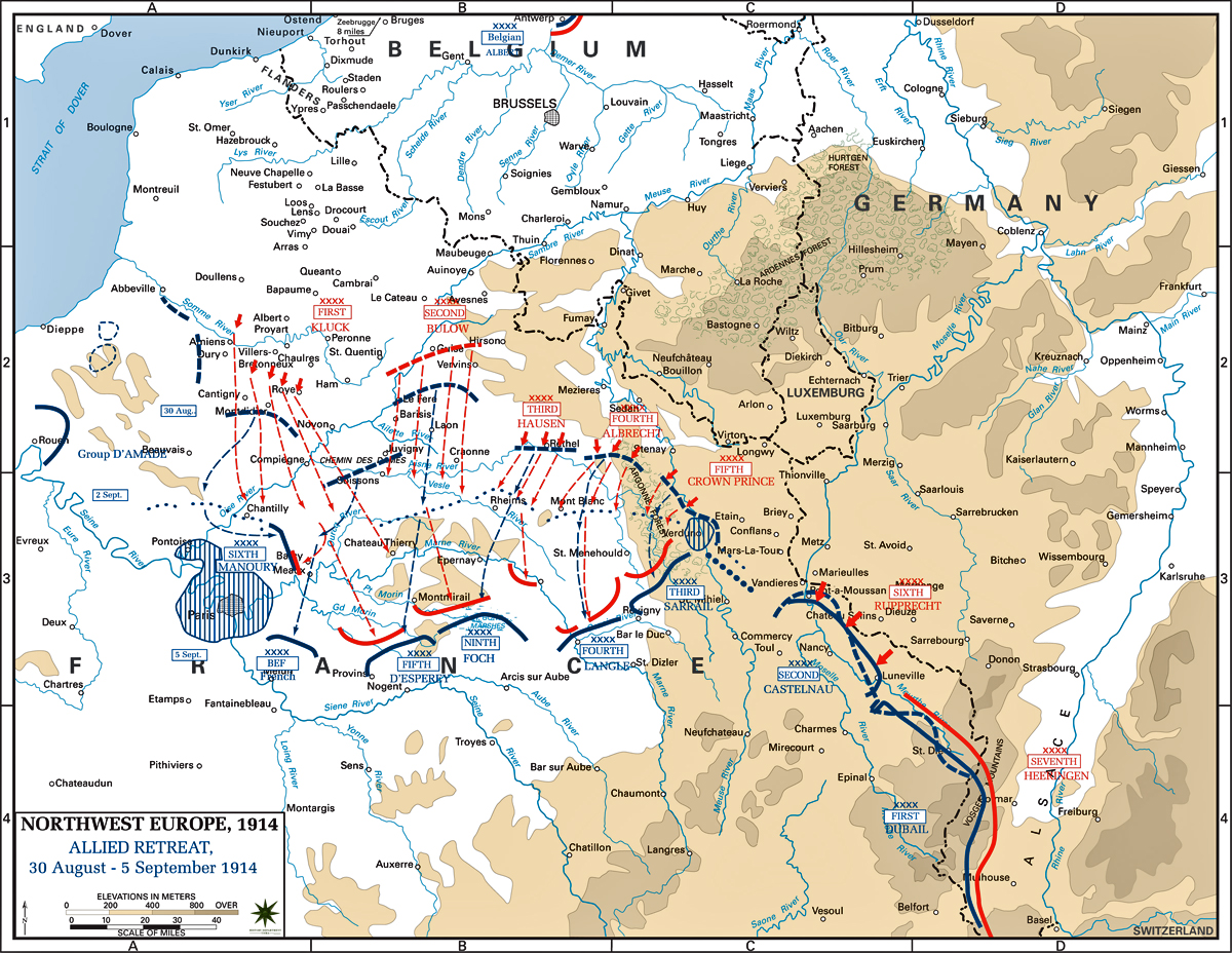Map of Northwest Europe - Aug 30-Sep 5, 1914: Allied Retreat The Battle Of Marne Wwi Map on battle of verdun map wwi, downloadable maps of battle wwi, allied powers map wwi, battle of tannenberg map wwi,