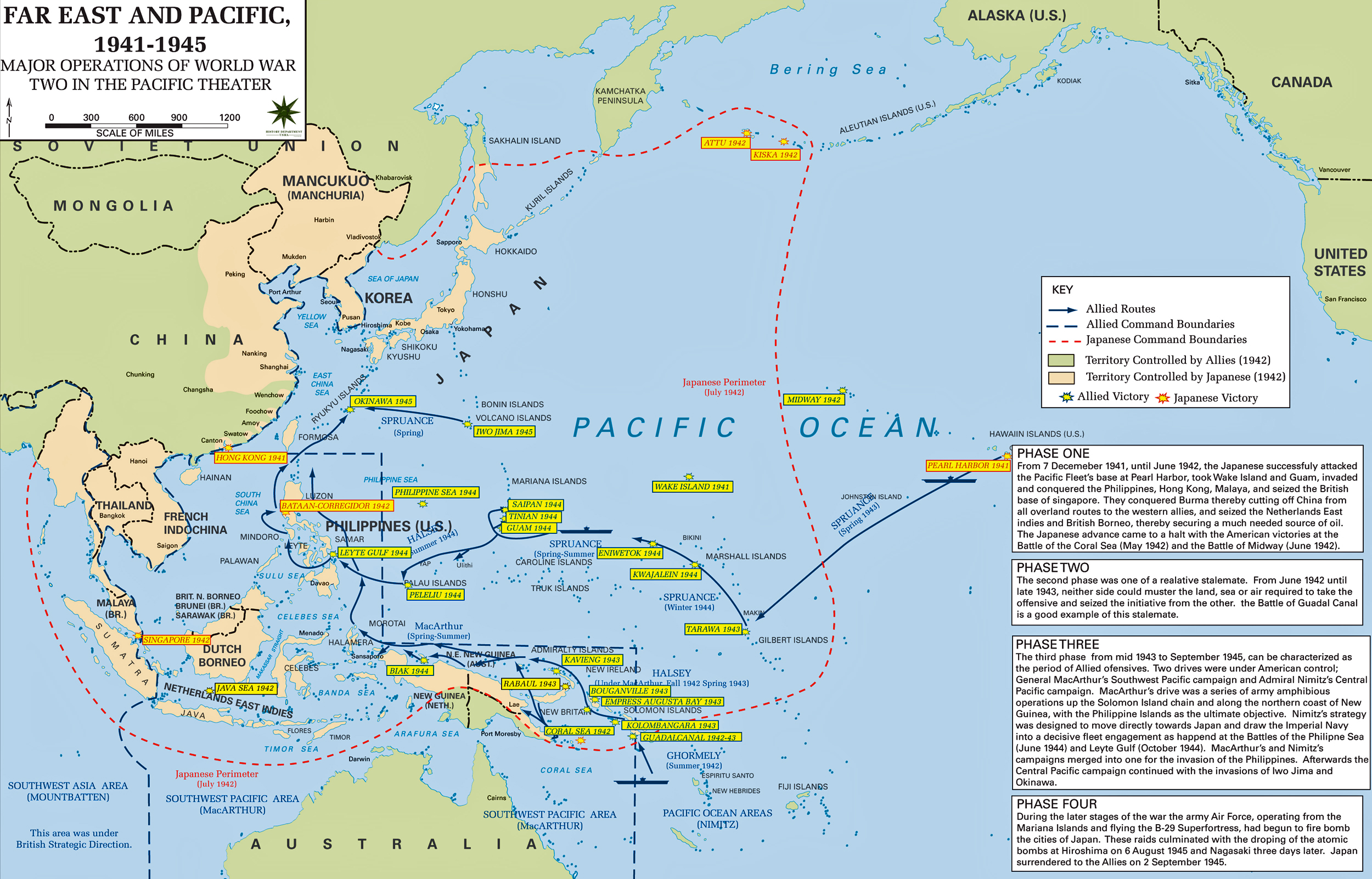 Map of WWII - Major Operations in Asia and the Pacific