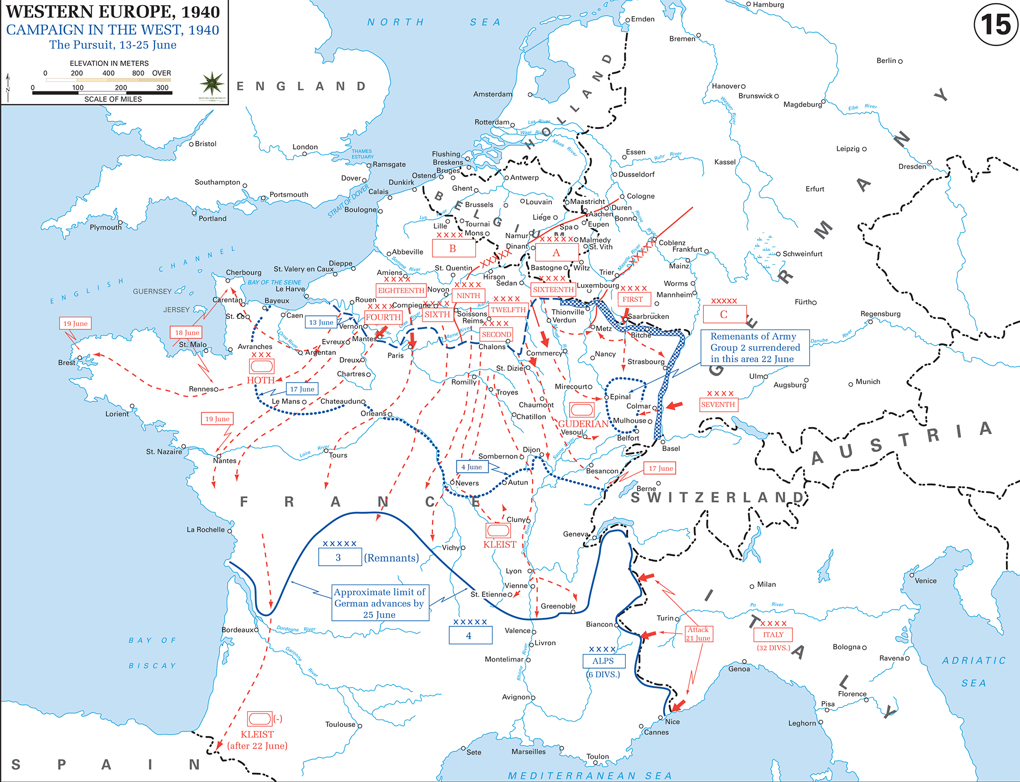 Map of WWII The War in the West 1940 June 13 25