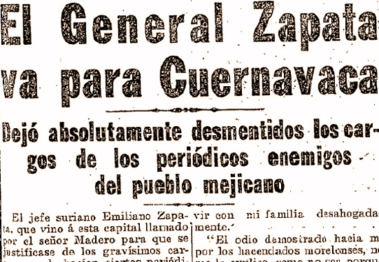 Zapata retires, Mexican History 1911